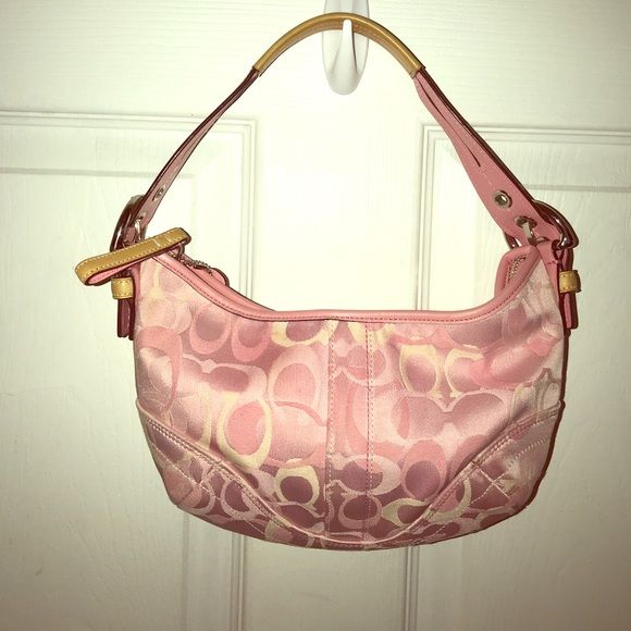 58c53a00480 Coach Bags   Pink Fabric Hobo Satcheltan Leather Trim   Poshmark